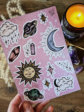 Sun & Moon Celestial | Sticker Sheet - Felicity & Ink