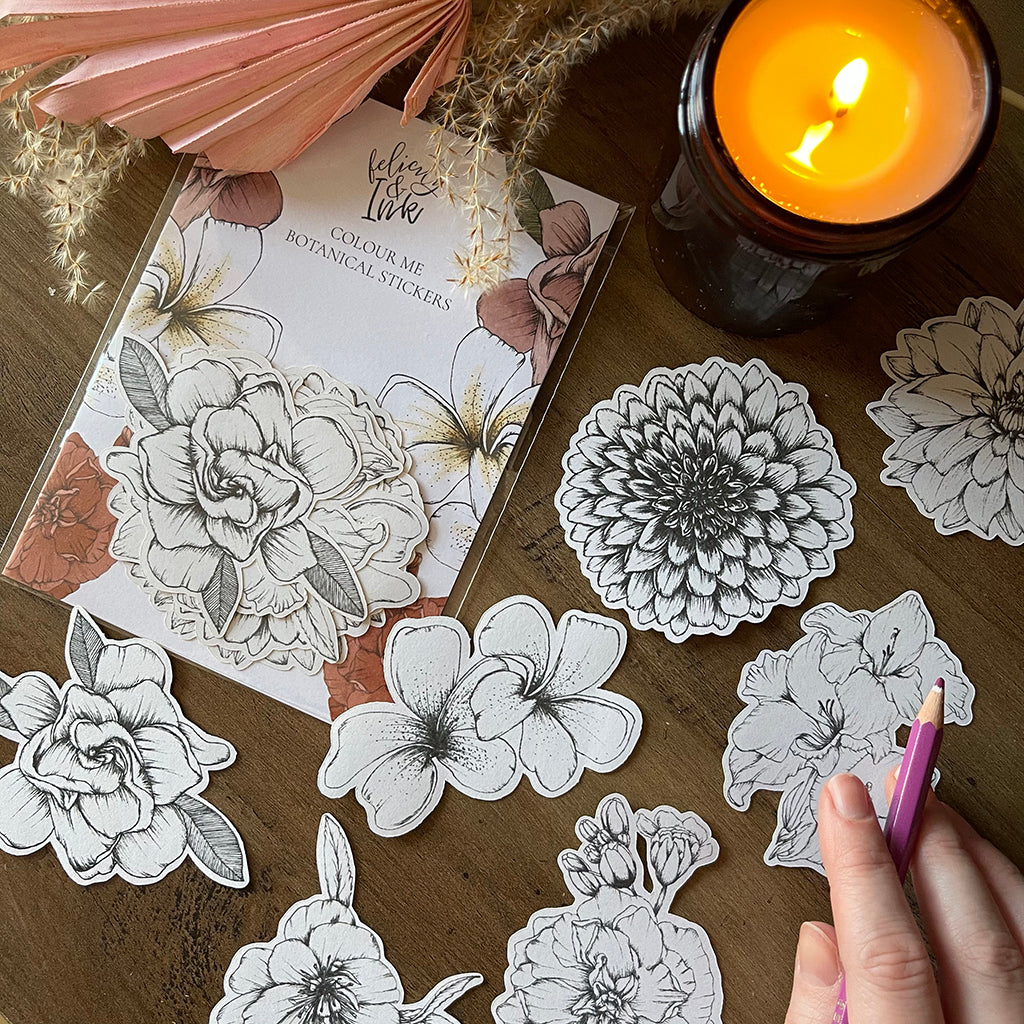 Botanical Floral Colour In Sticker Set