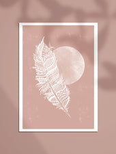 Minimal Boho, Feather Moon | A4 & A5 Art Prints - Felicity & Ink