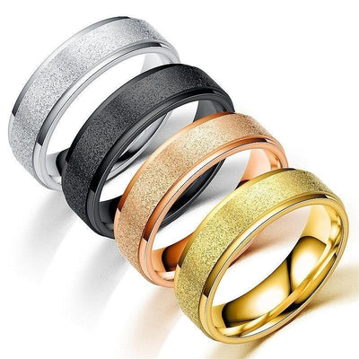 Frosted Stainless Steel Man Women Personality Dull Polish Rings Black Rose Gold Gold Silver Colours Titanium Jewelry Anillos