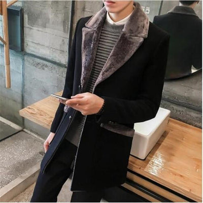 Trench Coat Men Wool Blend Winter Coat Slim Fit Men Manteau Homme Mid-Long Black Grey Mens Trench Coat Blue S~5XL