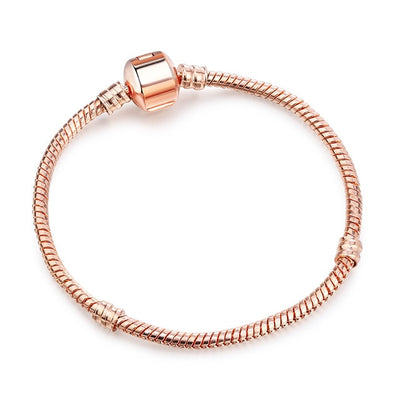 New Original Charm Bracelet Rose Gold Silver Color Alloy Snake Chain Basic Bracelets For Fashion Women Bead DIY Jewelry Dropship