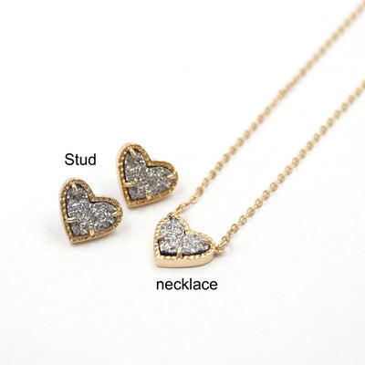 New Valentines Gift Faux Glitter Abalone Stone Small Heart Shaped 3D Resin Shell Mini Love Druzy Necklaces for Women Pendants