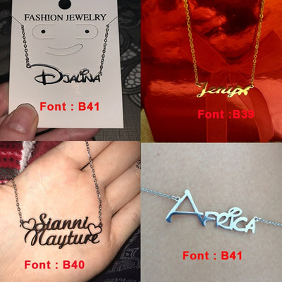 Lemegeton Stainless Steel Choker Custom Name Necklace For Women Personalized Customized Nameplate Girlfriend Birthday Gift