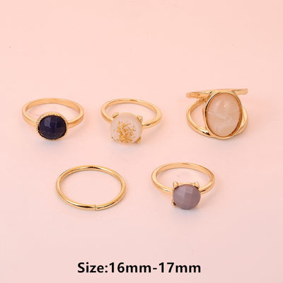Vintage Summer 8Pcs/Set Fairy Friends Colorful Stone Metalic Fashion Finger Rings Korea Hit Rings for Women Girl Party