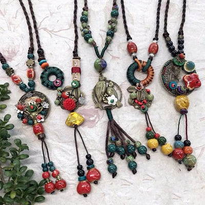 New Necklace Ethnic Handmade Natural Stone Pendent For Women Boho 50cm Chain Tassel Necklace Jewelry Bijoux Dropshipping