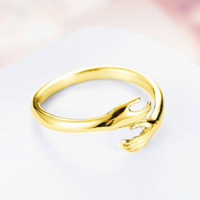 Hot new 925 sterling silver European and American jewelry love hug ring retro fashion tide flow open ring GN601