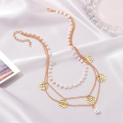 New Disc Crackle Three-Layer Women's Chokers Necklaces Vintage Geometric Multilayer Imitation Pearl Pendant Necklace Jewelry