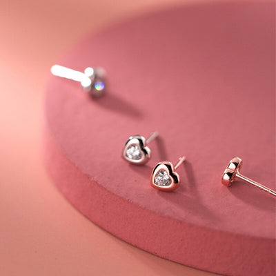 Romantic 925 Sterling Silver Heart Zircon Minimlist Stud Earrings for woman Party Fine Jewelry Wholesale Accessory