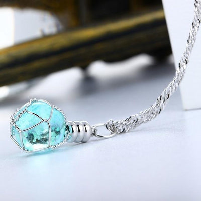 Glow In The Dark Light Ball Pendant Necklace