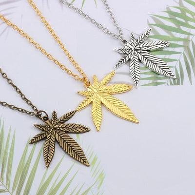 Hip Hop Tree Leaf Necklace For Women Men Small Weed Herb Maple Leaf Pendants Necklaces Unisex Plant Jewelry Dropshipping Collar
