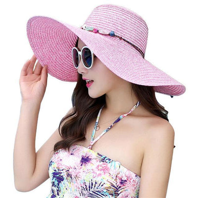 Women Floppy Sun Hat Wide Brim Foldable Summer Beach Straw Cap With Shell Chain Fashion New
