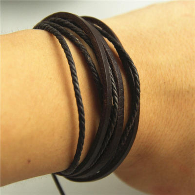 2019 New Hot 100% hand-woven Fashion Jewelry Leather Braided Rope Wristband Wrap multilayer men bracelets & bangles for women