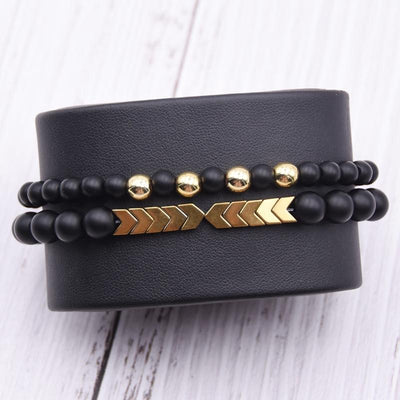 Men's Set Hematite Bracelets European  Mens Brading Macrame Bangle Punk Hiphop Cool Men Jewelry Gift Pulseira Masculina
