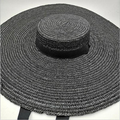 2019 Women Natural Raffia Straw Hat Ribbon Tie 15cm Brim Hat Derby Beach Sun Hat Cap Summer Wide Brim UV Protect Hats Female R6