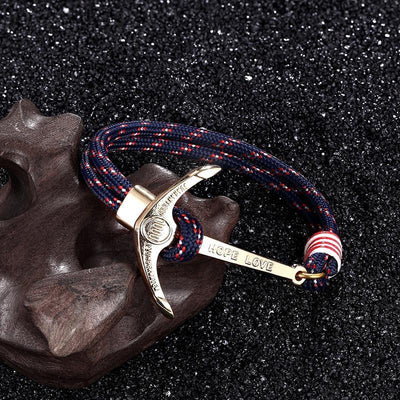 High quality fashion black anchor bracelet men's charm survival rope chain leather friendship bracelet men and women jewelry