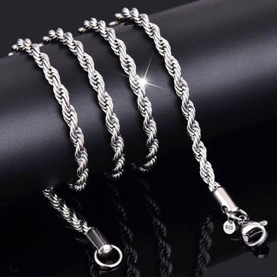 3MM Titanium Steel Silver Gold Men's Necklace Twist Chain Long Necklaces Gifts For Women Collier Jewelry Accesory High Quality