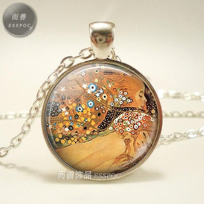 Necklace Art Painting Print Glass Cabochon Pendant Chain Necklace Fashion Jewelry Necklaces for Women Men