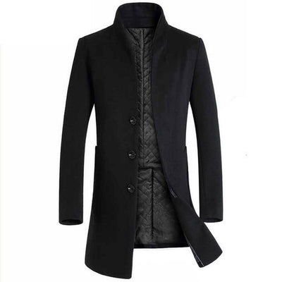 Luxury Winter Trench Coat Men Fashion Solid Stand Collar Steampunk Men Casual Plus Size Abrigos Hombre Button Long Jacket Men