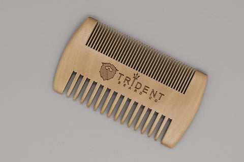 Trident Beard Co. Natural Peach Wood Beard Comb