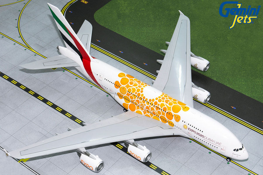 "GeminiJets G2UAE758 1:200 Emirates A380 ""Orange Expo"" A6-EOU"