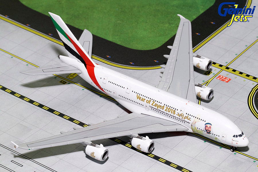 "GeminiJets GJUAE1747 1:400 Emirates Airbus A380 ""Year of Zayed"" A6-EUZ"