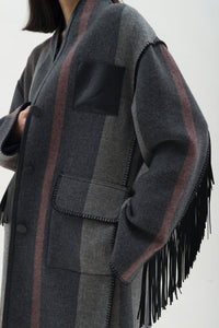 Fringed Caban Coat