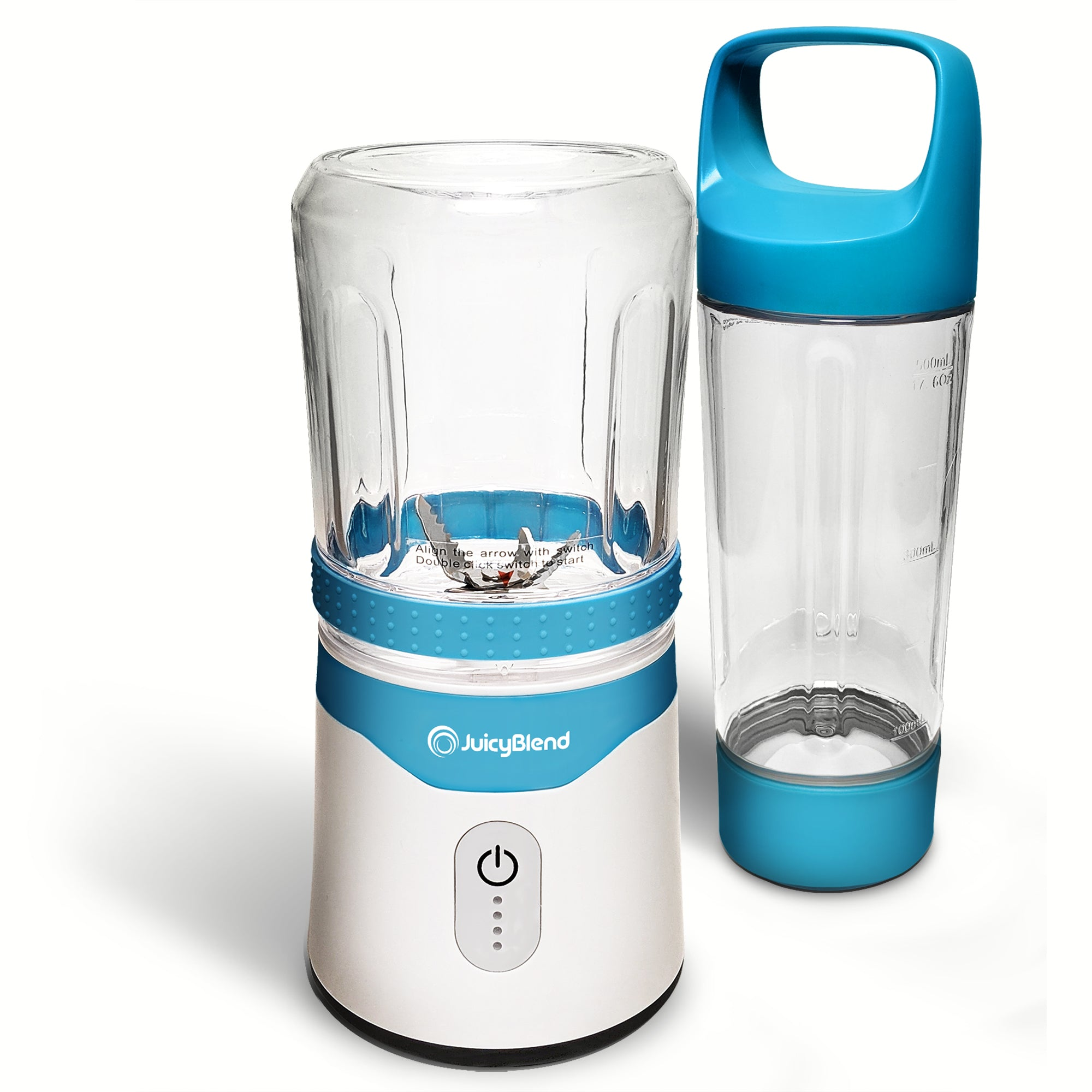 JuicyBlend light blue and white portable blender with 500ML clear plastic jar with light blue lid and 300ML clear plastic jar with blender motor base.