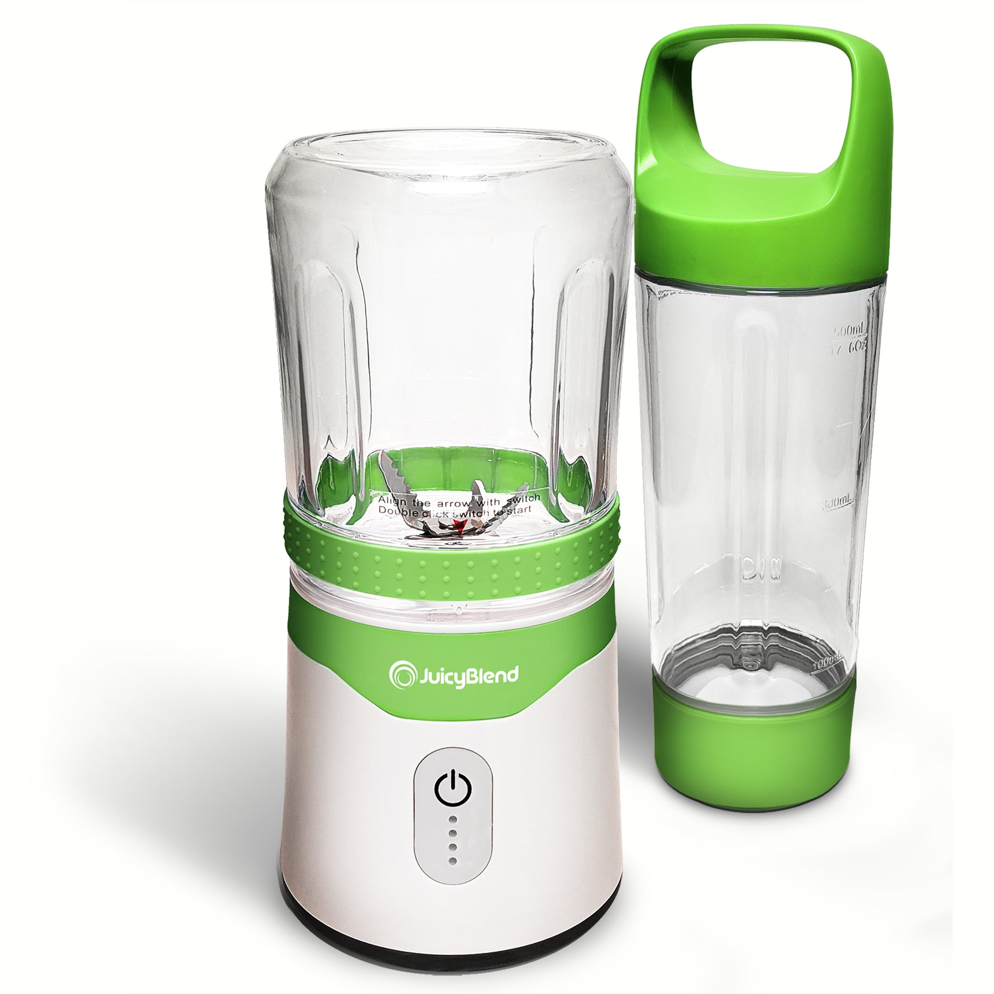 JuicyBlend green and white portable blender with 500ML clear plastic jar with green lid and 300ML clear plastic jar with blender motor base.