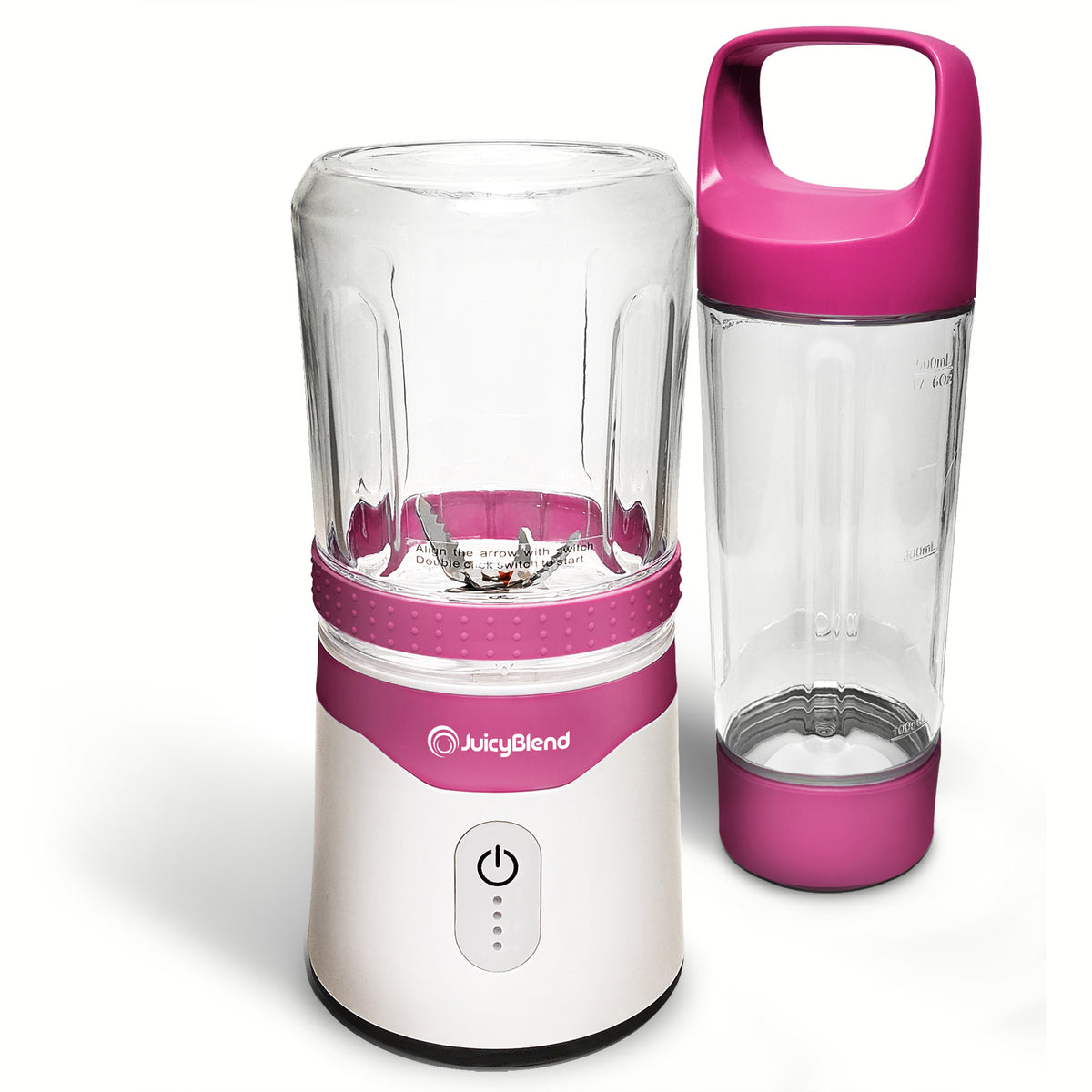 JuicyBlend pink and white portable blender with 500ML clear plastic jar with pink lid and 300ML clear plastic jar with blender motor base.