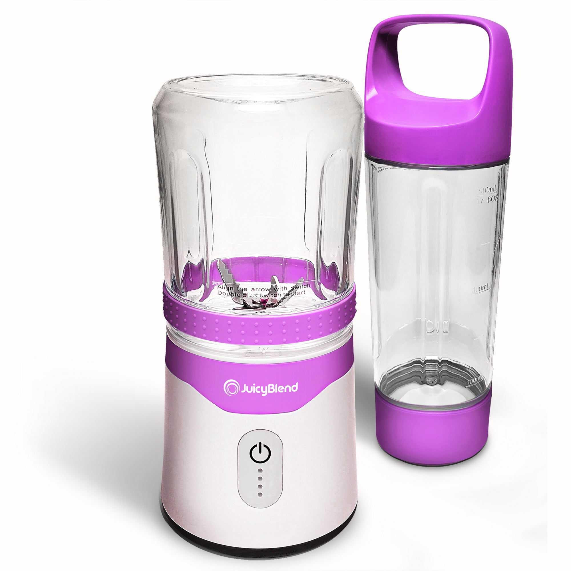 JuicyBlend purple and white portable blender with 500ML clear plastic jar with purple lid and 300ML clear plastic jar with blender motor base.