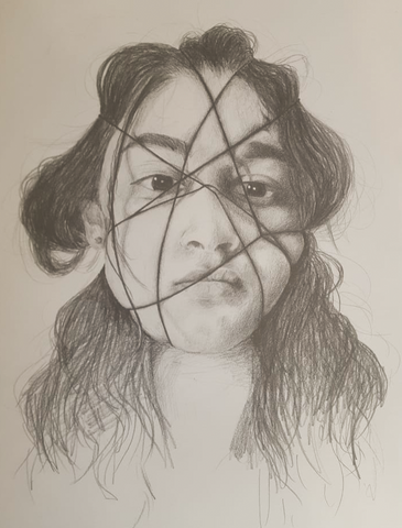 "Amazing artwork created by our Year 12 art student Khushi on the theme of 'Exploration of emotion during Lockdown""."