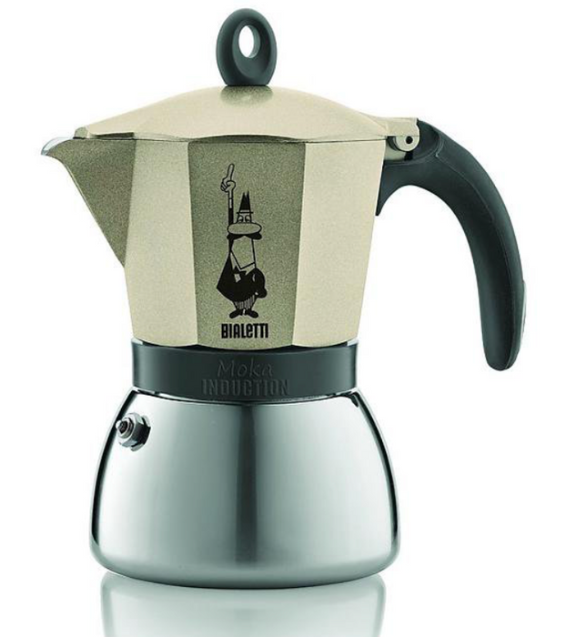 Home office set Bialetti espresso maker inductie grijs / goud + 3x 250g Emilio + optioneel met pralines