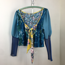 Load image into Gallery viewer, Bryga-1M Mixed Media Blouse in Lake