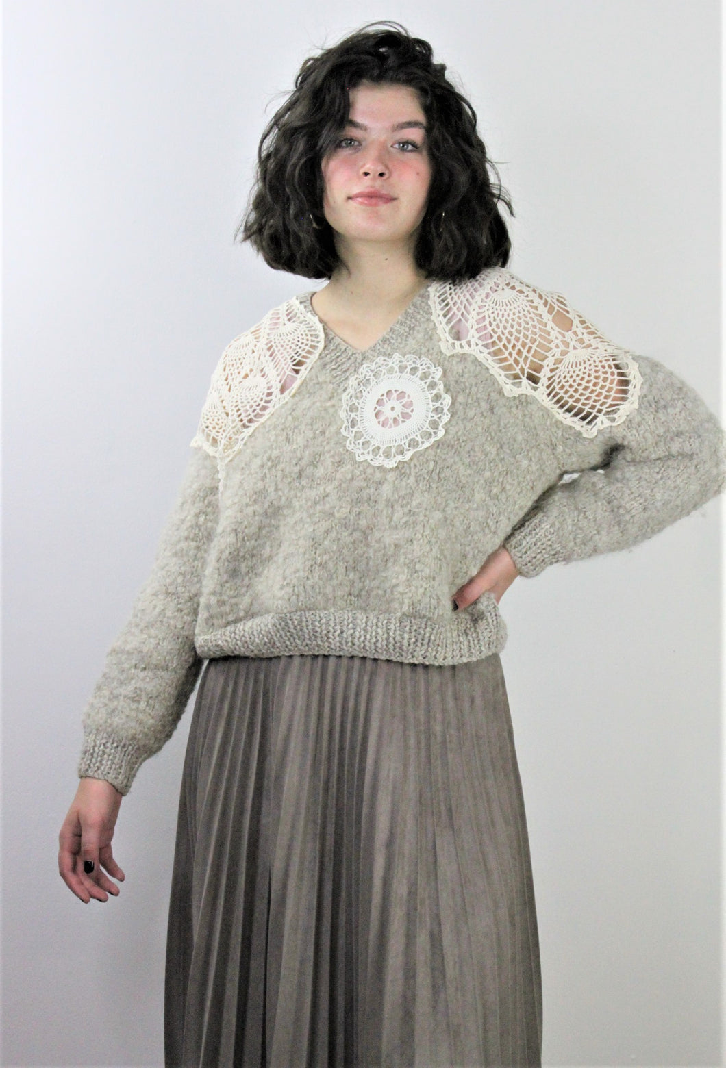 Chunky Knit and Lace Sweater