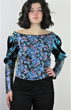 Load image into Gallery viewer, Bryga-1S  Mixed Media Blouse in Lake