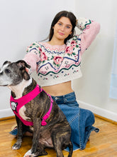Load image into Gallery viewer, Pink/Cream Cropped Sweater