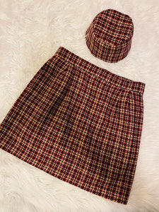 Mini and Hat Set in Rust Plaid