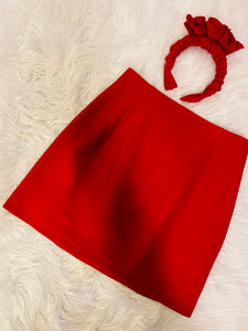 Mini Skirt and Headpiece Set in Red
