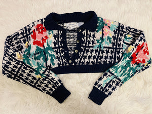 Navy/Floral Cropped Sweater