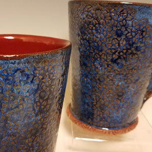Indigo Blue Mugs with Deep Red Interior  2 in stock