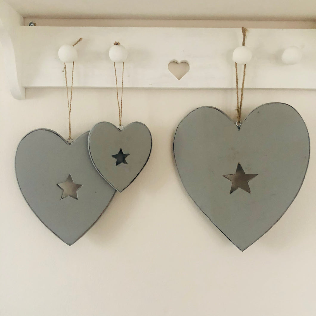 Grey Heart With Star Centre