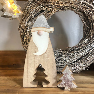 Small Wooden Santa With Tree