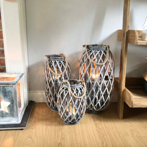 Greywash Wicker Lantern Extra Large