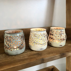 Set Of Three Cut Out Tealight Holders
