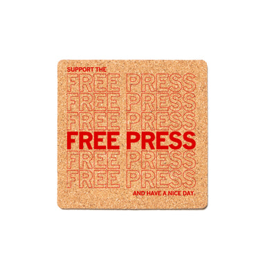Support The Free Press Cork Coaster