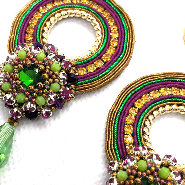 Bold drop earrings soutache crystals gold blue green purple colorfull statement