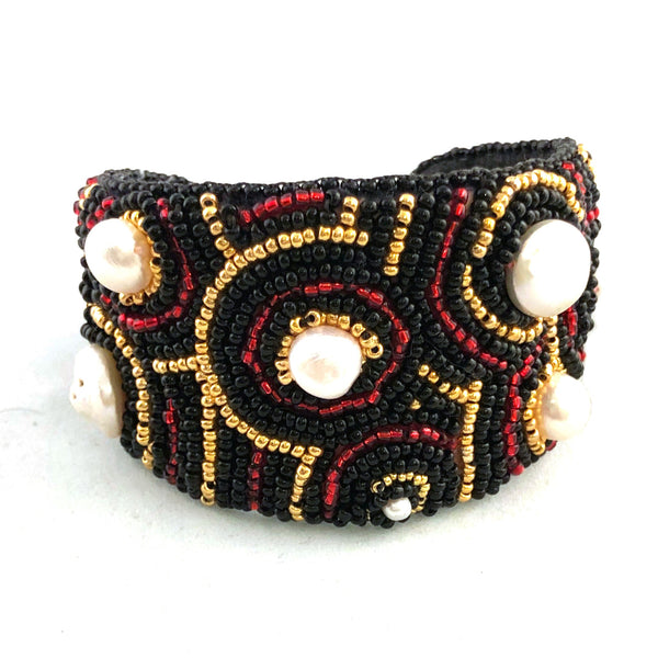 Statement bold cuff bracelet embroidery pearls red gold black white
