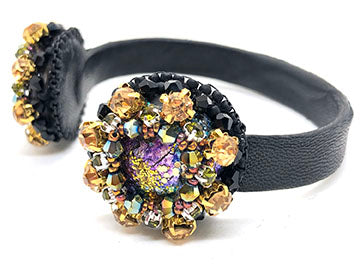 Statement handmade leather cuff bracelet bold embroidery crystals blue purple green black gold multicolor