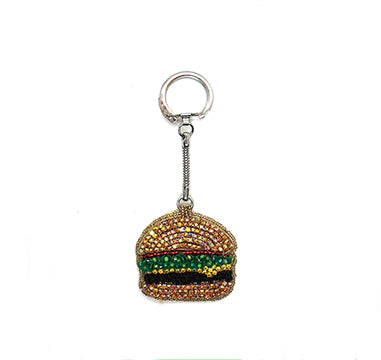 Statement handmade burger brooch keychain bold embroidery reed yellow green